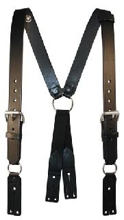 "Fireman""S Leather Suspenders (Button)(3"" Longer)"