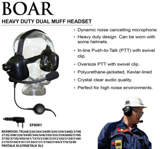 Heavy Duty Dual Muff Headset with large Push-to-Talk button