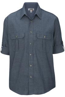 Edwards M Ls Chambray Roll Up Sleeve Shirt