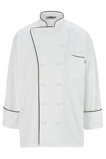 Edwards Executive 12 Cloth Button Chef Coat w/Black Trim