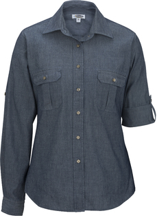 Edwards W Ls Chambray Roll Up Sleeve Shirt