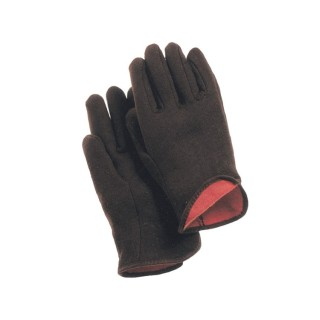 Cotton Brown Jersey Red Lining Gloves