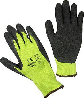 Hi-Viz Lime Latex Coated String Crinkle Finish - Cotton/Poly Blend Gloves