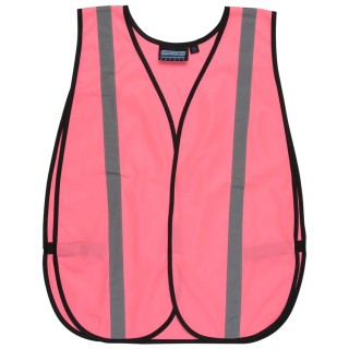 Pink NON-ANSI Vest Tricot W/Reflective Tape - Hook & Loop