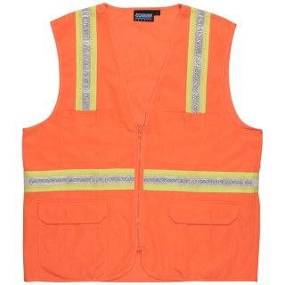 NON-ANSI Vest Surveyor's Tricot Hi-Viz Orange - Zipper