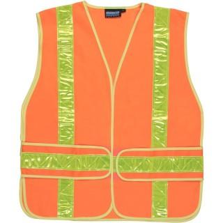 ANSI Class 2 Vest W/Chevron Stripes Tricot Hi-Viz Orange - Hook & Loop