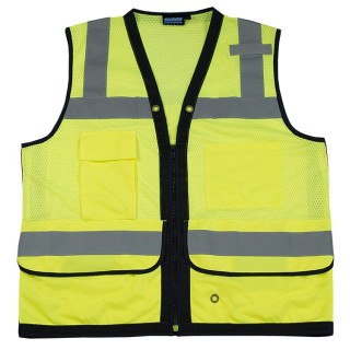 S251 Class 2 mesh Surveyor Hi Viz Lime Safety Vest
