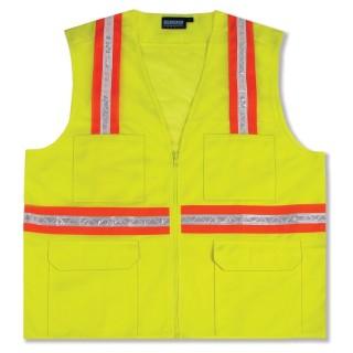 NON-ANSI Vest Surveyors Tricot & Mesh Hi-Viz Lime - Zipper