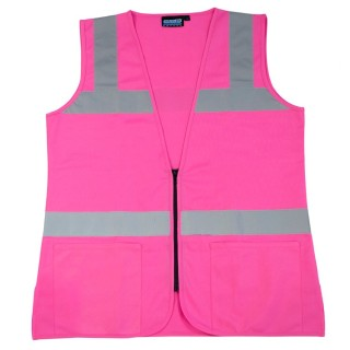 S721 Class 2 Ladies Fitted Tricot Hi Viz Pink