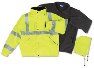 ANSI Class 3 Bomber Jacket Woven Oxford W/Breathable PU Coating With Removable Fleece Liner