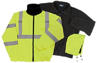 ANSI Class 3 Bomber Jacket Woven Oxford w/PU Coating, Removable Fleece Liner - Zipper