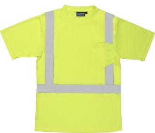 Lime ANSI Class 2 T-Shirt w/Reflective Tape Birdseye Knit Mesh Hi-Viz