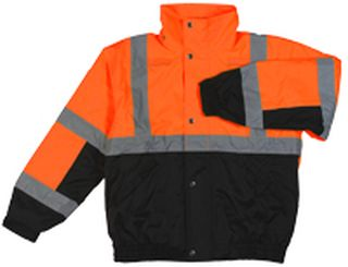 Ansi Class 2 Bomber Jacket Woven Oxford w/Pu Coating Fleece Liner Hi-Viz