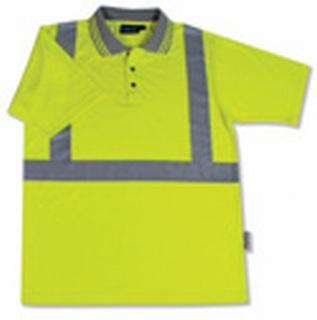 Ansi Class 2 Polo Shirt Polyester Jersey Knit Hi-Viz Lime