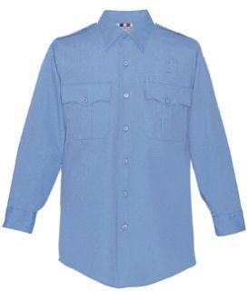 Men's Marine Blue Plain Long Sleeve 65/35 Poly/Cotton Duro Poplin Shirt