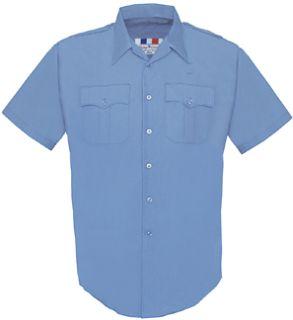 Men's Marine Blue Plain Short Sleeve 65/35 Poly/Cotton Duro Poplin Shirt