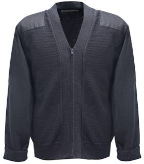 Navy Jersey Knit Zip Sweater 70poly/30wool