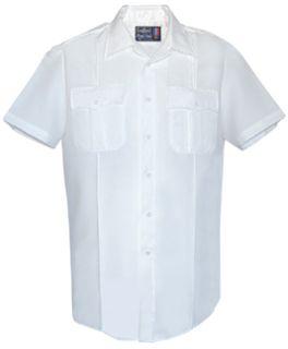 Men's White Short Sleeve Zippered Front 100% Visa®; System 3 Polyester Shirt