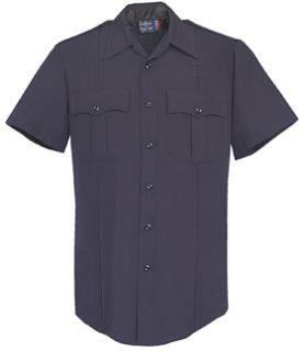 Men's LAPD Navy Short Sleeve Zippered Front 100% Visa®; System 3 Polyester Shirt