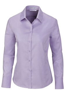 Boulevard Ladie's Wrinkle Free 2-Ply 80's Cotton Dobby Taped Shirt With Oxford Trim
