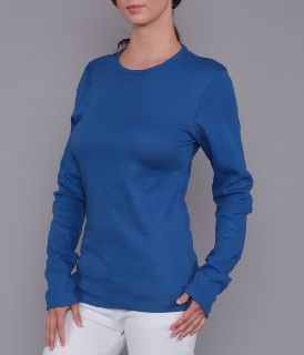 Ladies Long Sleeve Light Weight 1x1 Baby Rib Knit Top